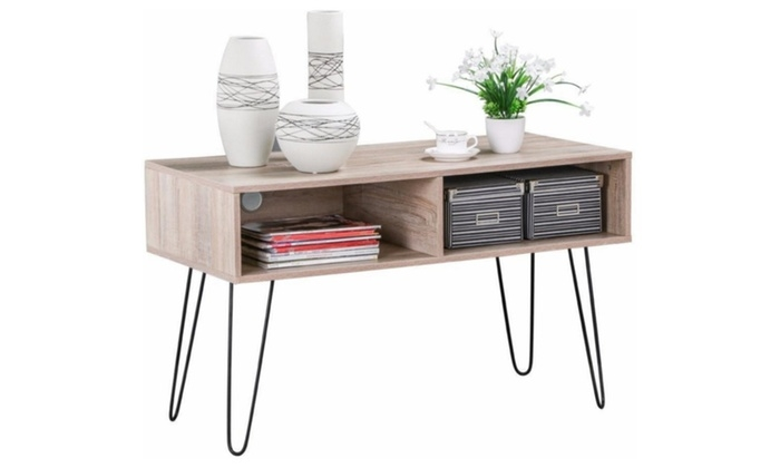 Brilliant Deluxe Hairpin Leg TV Stands Regarding 56 Off On Wood Tv Stand Metal Hairpin L Groupon Goods (Image 8 of 50)