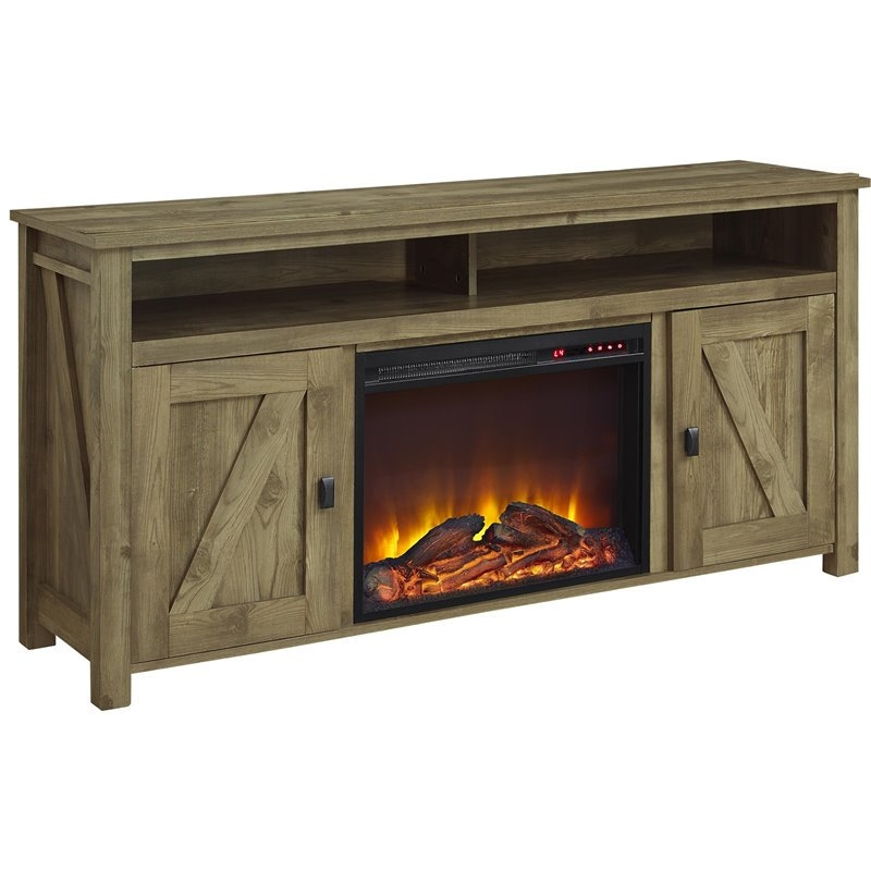 Brilliant Deluxe Light Brown TV Stands Throughout 60 Fireplace Tv Stand In Light Pine 1795296com (Image 12 of 50)