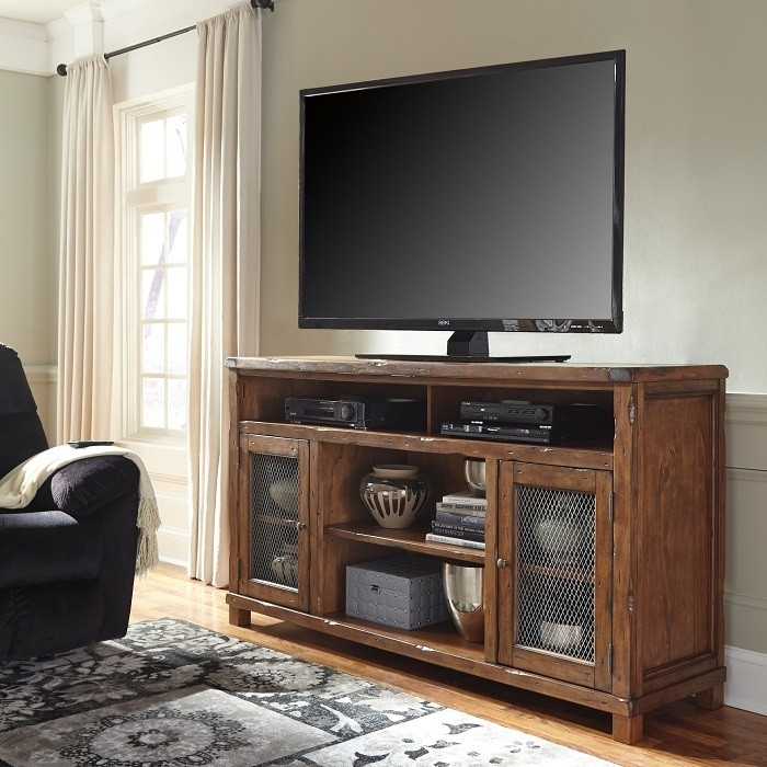 Brilliant Deluxe Light Brown TV Stands With Regard To Vintage Casual 75 Tv Stand Rustic Brown Sam Levitz Furniture (Image 13 of 50)