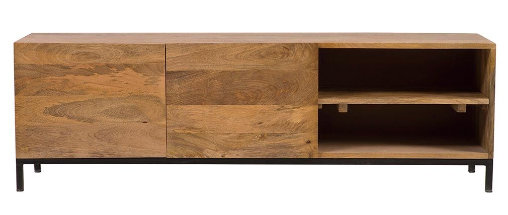 Brilliant Deluxe Mango Wood TV Stands Throughout Ypster Mango Wood And Metal Industrial Tv Stand Miliboo (Image 13 of 50)