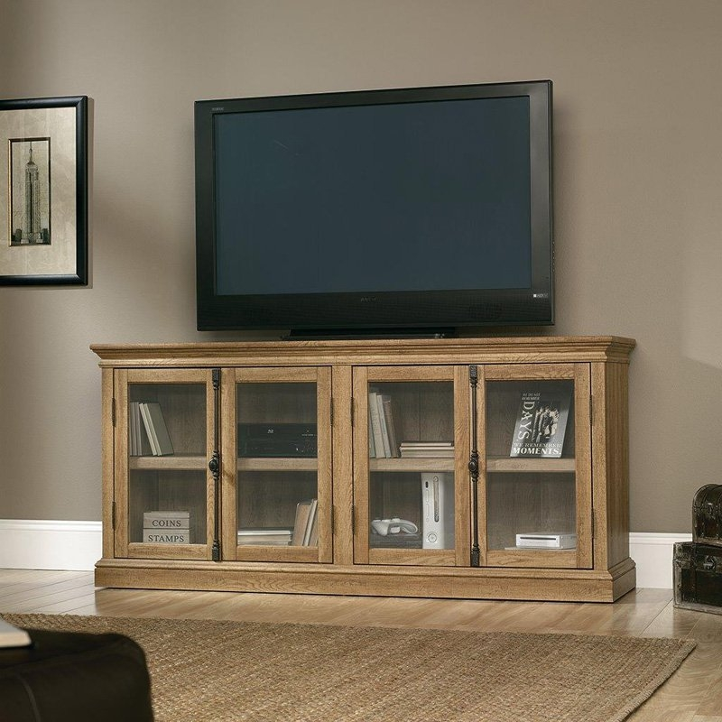 Brilliant Deluxe Oak TV Stands For Flat Screen With Sauder Barrister Lane Storage Credenza Tv Stand Salt Oak Tv (Image 12 of 50)