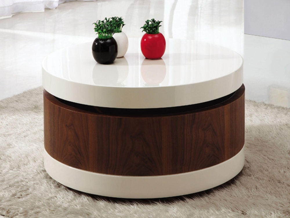 Brilliant Deluxe Round Coffee Tables With Storages With Regard To Best Round Coffee Table With Storage The Home Redesign (Image 12 of 50)