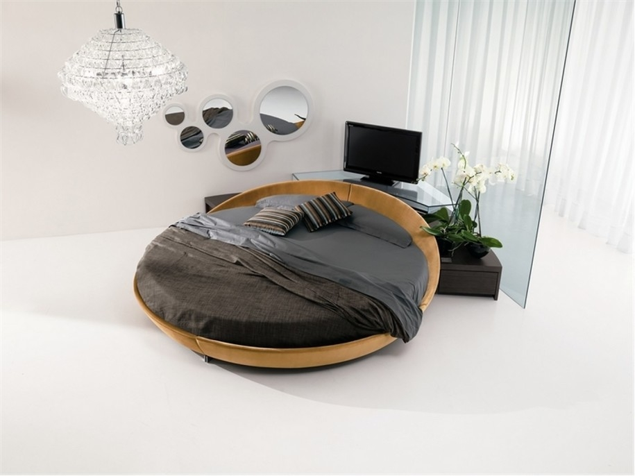 Brilliant Deluxe Round TV Stands With Regard To Simple Wooden Leather Round Bed With Glass Tv Stand And Grey Cover (Image 9 of 50)