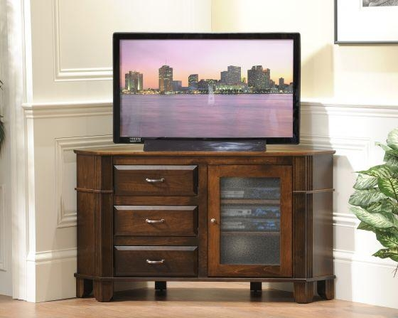 Brilliant Deluxe TV Cabinets With Drawers Pertaining To Amish Arlington Corner Tv Stand With Three Drawers (Image 10 of 50)