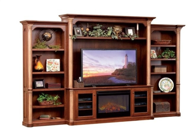Brilliant Deluxe TV Stands With Bookcases Throughout Jefferson Premier Entertainment Tv Stand Hutch With Fireplace (Image 10 of 50)