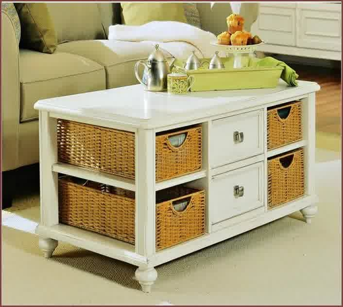 Brilliant Deluxe White Coffee Tables With Baskets Intended For Inspiring Designs Of Coffee Table With Baskets Homesfeed (Image 12 of 40)