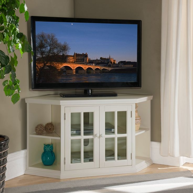 Brilliant Elite Cream Corner TV Stands Regarding Tv Stands 10 Decorative Ideas For Corner Tv Stands Build Corner (Image 10 of 50)