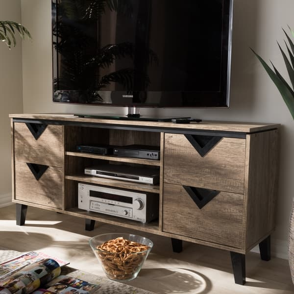 Brilliant Elite Light Brown TV Stands Inside Contemporary Light Brown Wood 4 Drawer 55 Inch Tv Stand Baxton (Image 14 of 50)