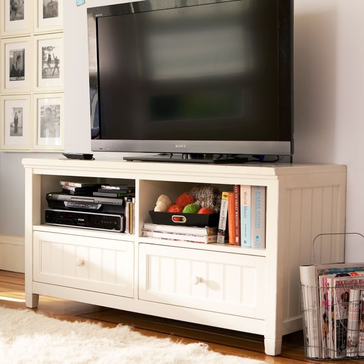 Brilliant Elite Rustic White TV Stands Within Beadboard Media Console Pbteen (Image 15 of 50)