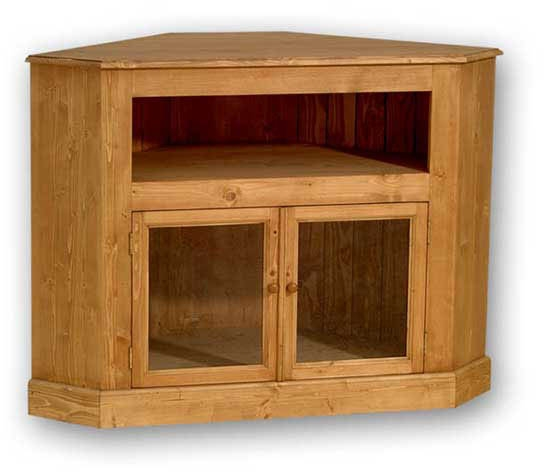 Brilliant Elite Solid Pine TV Cabinets Within Solid Pine Widescreen Corner Tv Unit With Glass Doors (Image 9 of 50)