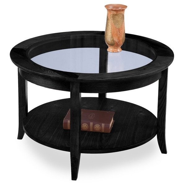 Brilliant Elite Solid Round Coffee Tables Within Elegant Round Coffee Table Black Interiorvues (Image 6 of 40)
