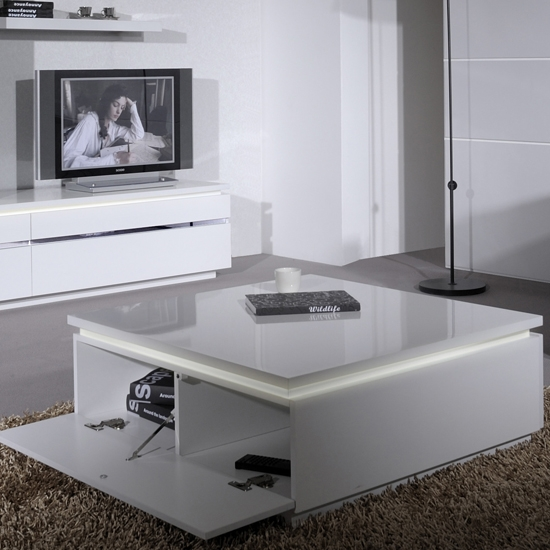 Brilliant Elite Square White Coffee Tables Throughout Elisa Coffee Table Square In High Gloss White With Storage (View 38 of 50)
