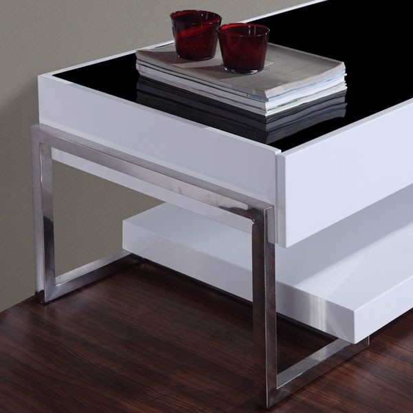 Brilliant Elite White And Black TV Stands Inside B Modern Agent Tv Stand White High Gloss Black Glass Top B (Image 11 of 50)