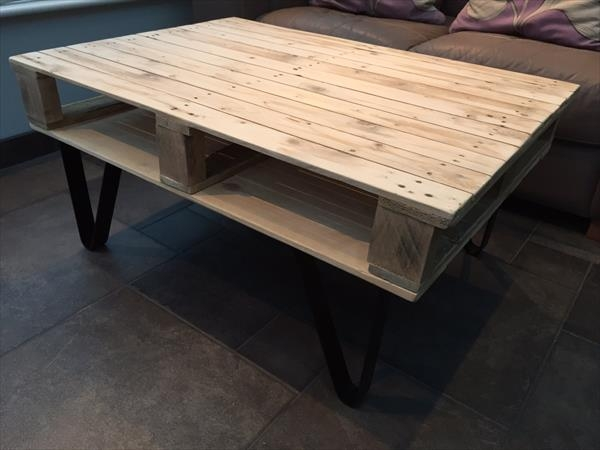 Brilliant Famous Coffee Tables With Shelves Regarding Pallet Coffee Table With Built In Shelf 101 Pallets (View 45 of 50)