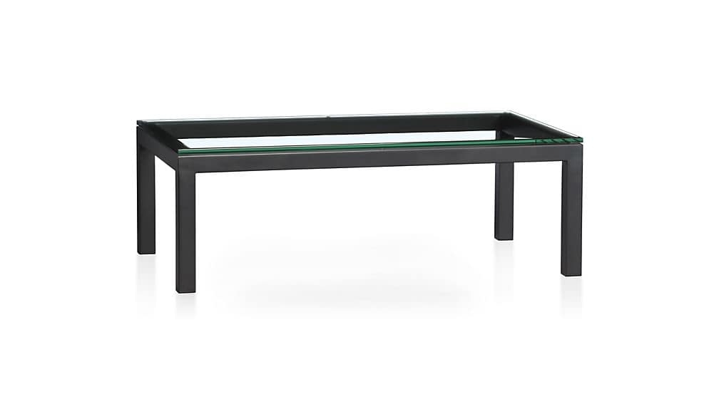 Brilliant Famous Dark Glass Coffee Tables In Parsons Clear Glass Top Dark Steel Base 48×28 Small Rectangular (Image 14 of 50)