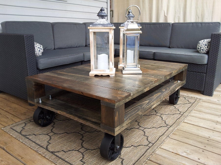 Brilliant Famous Glass Coffee Tables With Casters Regarding Coffee Table On Wheels (Image 11 of 50)