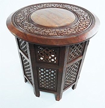 Brilliant Famous Indian Coffee Tables With Beautiful Round Brown White Hand Carved Indian Shesham Wooden (Image 8 of 40)