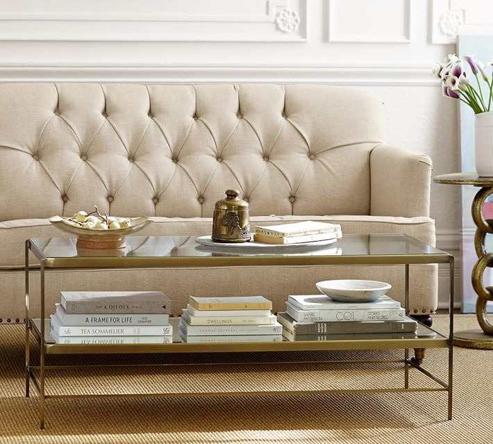 Brilliant Famous Metal Glass Coffee Tables With Leona Coffee Table Pottery Barn (Image 6 of 40)