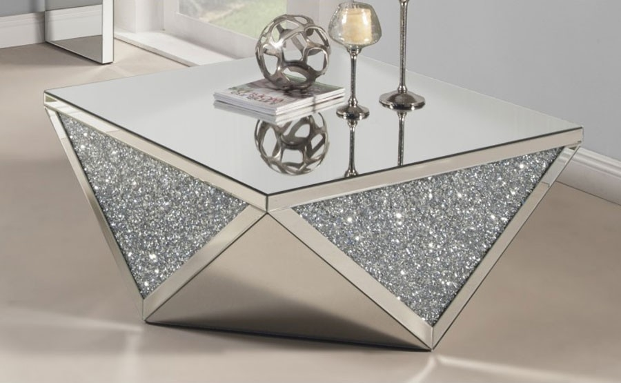 Brilliant Famous Mirrored Coffee Tables With Regard To Mirrored Coffee Table With Crystals (View 29 of 50)