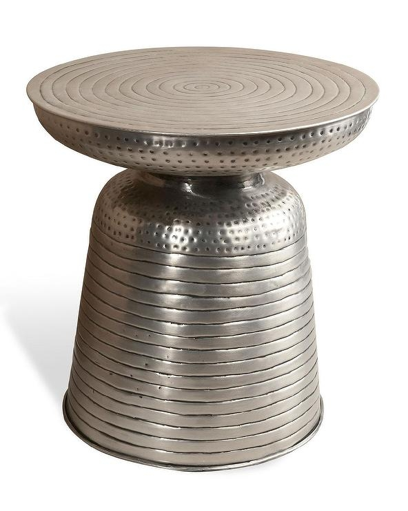 Brilliant Famous Silver Drum Coffee Tables In Silver Drum Hammered Side Table (Image 6 of 50)