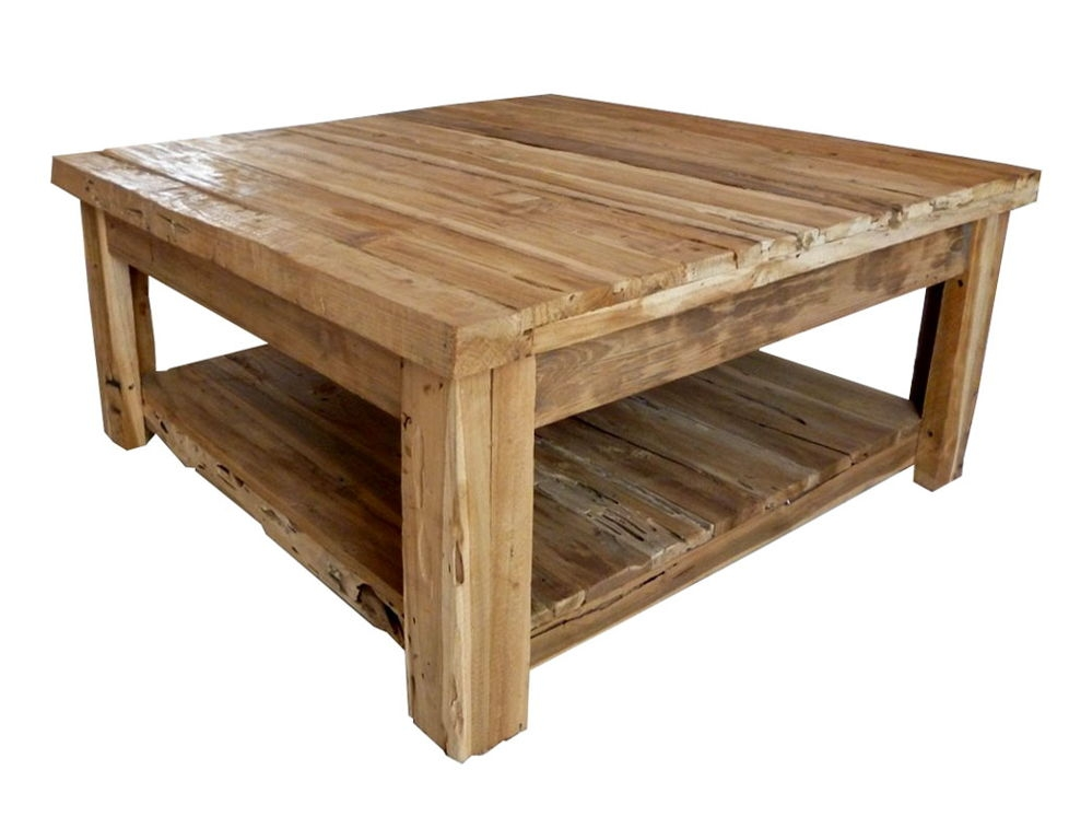 Brilliant Famous Square Wood Coffee Tables With Storage With Regard To Rustic Wood Coffee Table Ideas With Square Shape Top Also Storage (Image 11 of 50)