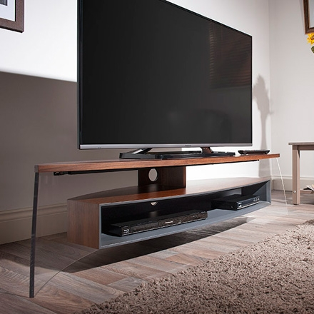 Brilliant Famous Techlink Air TV Stands For Techlink Air Curve Ac150wsg Tv Stand Up To 70 Tvs In Walnut (Image 12 of 50)