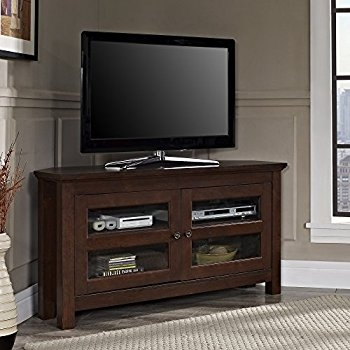 Brilliant Famous Wooden Corner TV Stands Intended For Amazon Walker Edison 44 Cordoba Corner Tv Stand Console (Image 5 of 50)