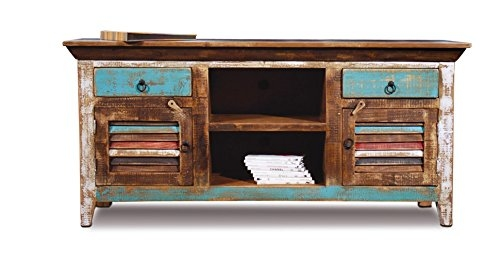 Brilliant Famous Wooden TV Stands With Doors Pertaining To Amazon Distressed Reclaimed Solid Wood Credenza Tv Stand (Image 8 of 50)