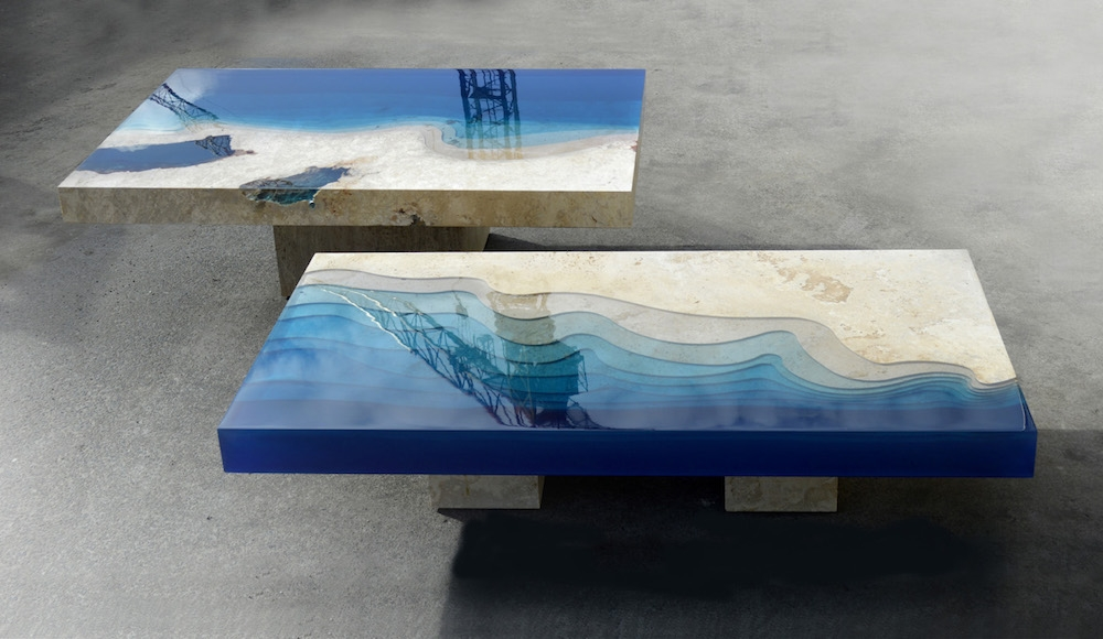 Brilliant Fashionable Blue Coffee Tables Throughout New Marble And Resin Lagoon Coffee Tables Alexandre Chapelin (Image 13 of 50)