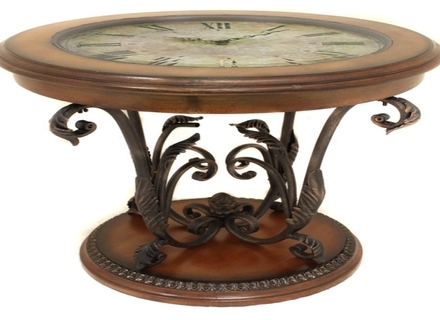 Brilliant Fashionable Clock Coffee Tables Round Shaped With Regard To Coffee Table Coffee Table Glass Top With Clock Vintage Style (Image 8 of 50)