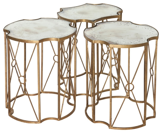 Brilliant Fashionable Coffee Tables And Side Table Sets Within Marlene Hollywood Antique Mirror Bunching Side Tables Set Of  (Image 9 of 50)