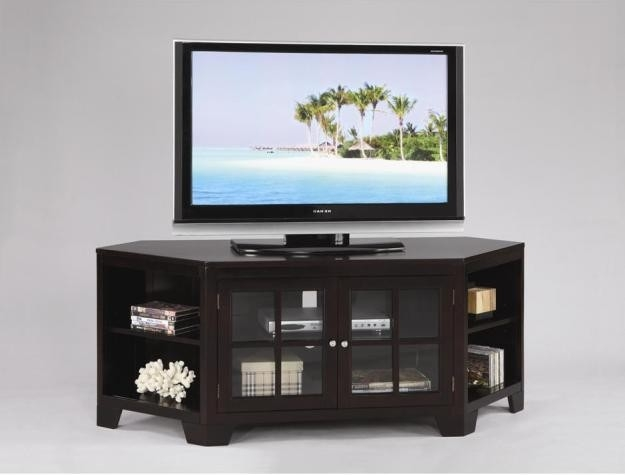 Brilliant Fashionable Contemporary Corner TV Stands For Unique Modern Espresso Corner Tv Stand Solid Dream Rooms (Image 10 of 50)