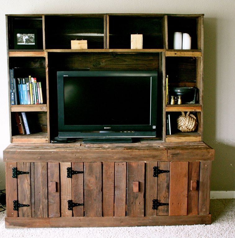Brilliant Fashionable Cream Color TV Stands Intended For Classy Diy Pallet Wooden Cabinet With Black Tv Stand And White (Image 14 of 50)