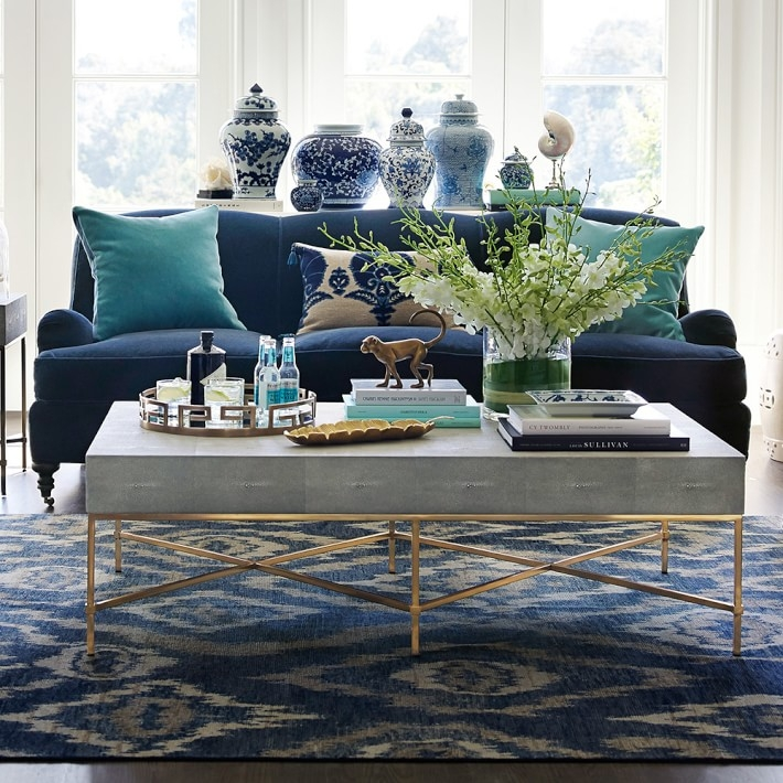 Brilliant Fashionable Grey Coffee Tables In Faux Shagreen Coffee Table Williams Sonoma (View 39 of 50)