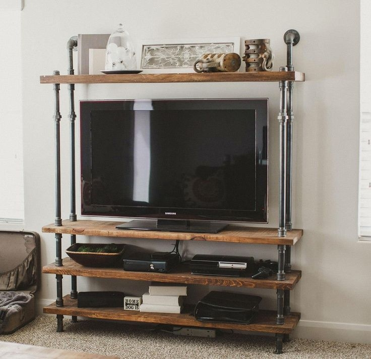 Brilliant Fashionable Metal And Wood TV Stands Inside Best 20 Industrial Tv Stand Ideas On Pinterest Industrial Media (Image 6 of 50)