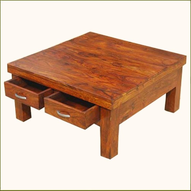 Brilliant Fashionable Square Wood Coffee Tables With Storage Regarding Great Solid Wood Coffee Table (Image 12 of 50)