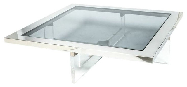 Brilliant Favorite Chrome And Glass Coffee Tables Inside Nice Square White Lucite Coffee Table For Your Living Room Decor (Image 9 of 50)