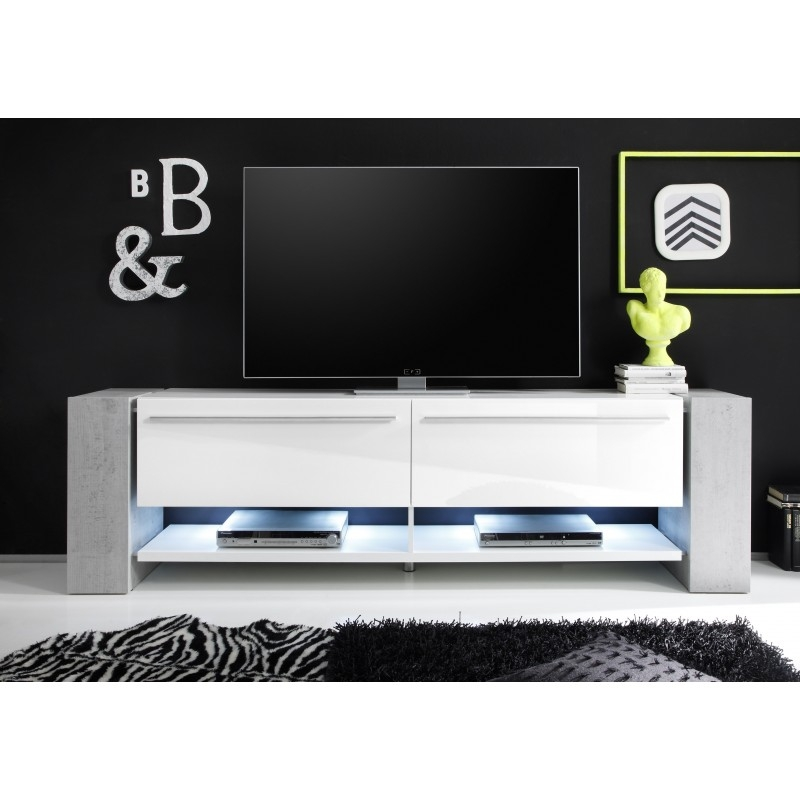 Brilliant Favorite Large White TV Stands With Regard To Time Ii Large White Tv Stand With Stone Imitation Legs Tv (Image 12 of 50)