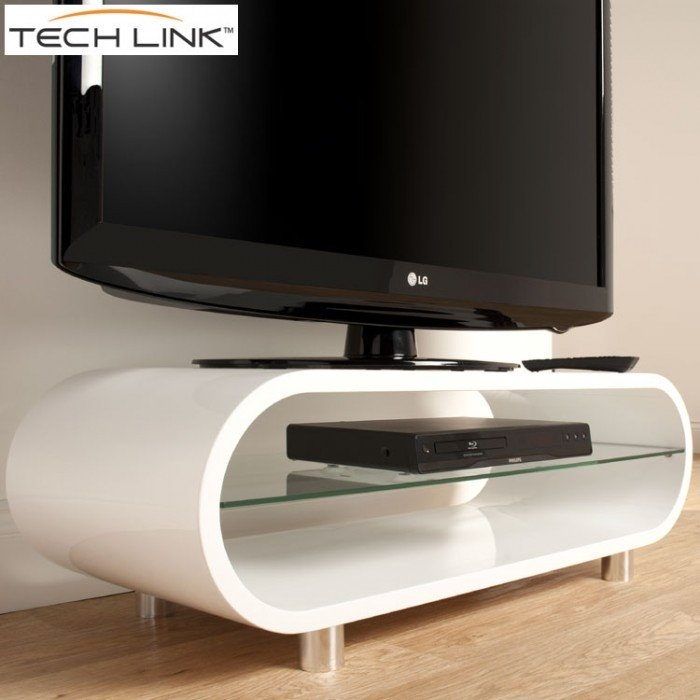 Brilliant Favorite White TV Stands Throughout Techlink Ovid Ov95w Gloss White Tv Stand  (Image 7 of 50)