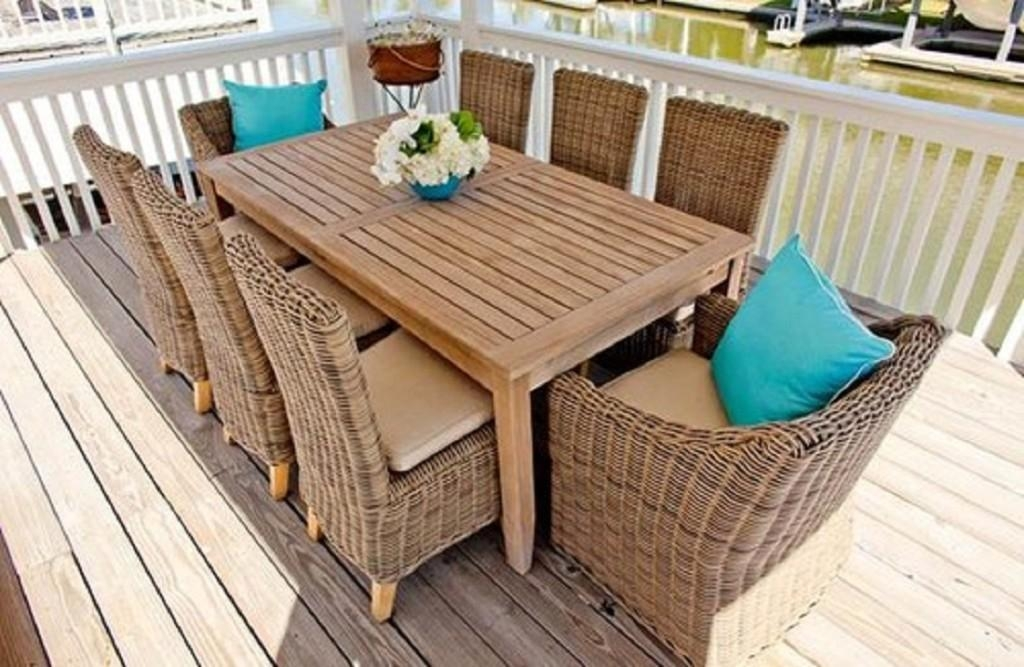 Brilliant Garden Dining Tables 8 Seater Set With Cushions Out And Regarding Garden Dining Tables (Image 7 of 20)