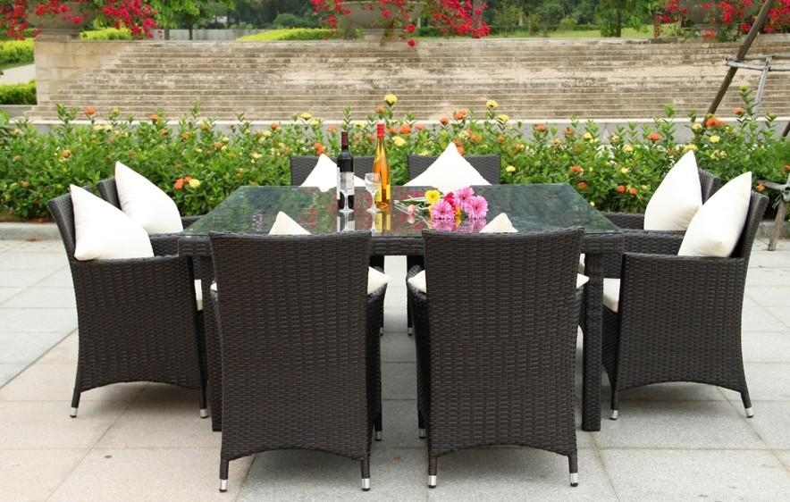 Brilliant Garden Dining Tables 8 Seater Set With Cushions Out And With Garden Dining Tables And Chairs (Image 7 of 20)