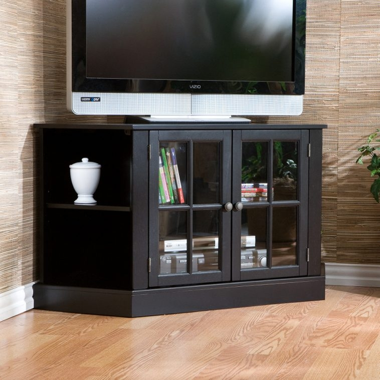 Brilliant High Quality Black Corner TV Cabinets With Glass Doors In Furniture Black Stained Wooden Corner Tv Stand With Open Shelf (Image 8 of 50)