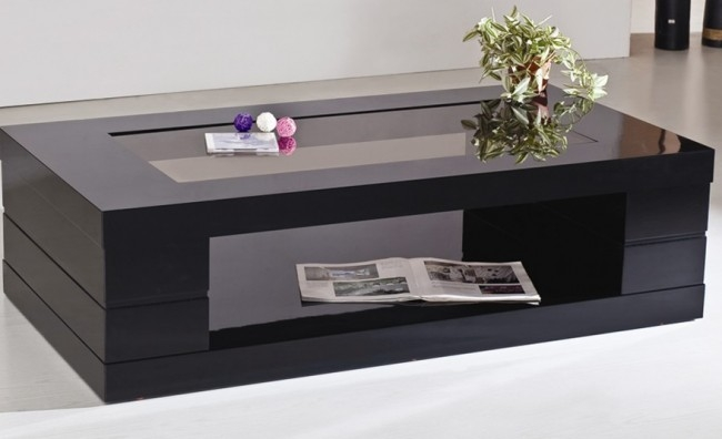 Brilliant High Quality Black Glass Coffee Tables  Within Living Room Top Black Glass Coffee Table 17 Modern Tables (Image 11 of 50)