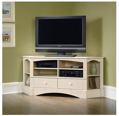 Brilliant High Quality Cream Corner TV Stands In 61 Corner Tv Media Gaming Console Stand Credenza Entertainment (Image 11 of 50)