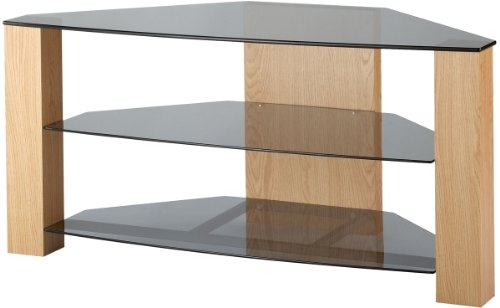 Brilliant High Quality Glass And Oak TV Stands In Corner Glass Shelf Brackets 15 Image Wall Shelves (Image 5 of 50)