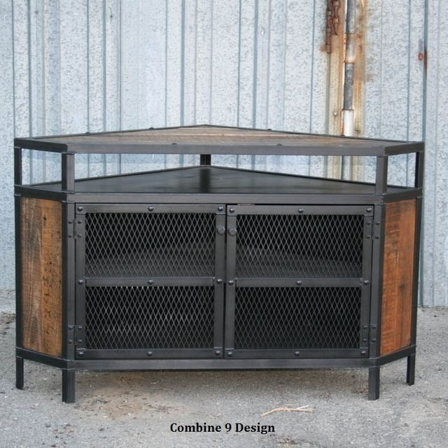 Brilliant High Quality Industrial Corner TV Stands Throughout Buy A Custom Vintage Industrial Tv Stand Corner Unit Media (Image 13 of 50)