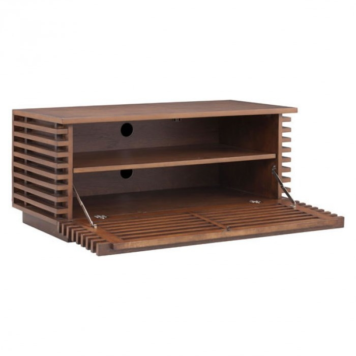 Brilliant High Quality Modern Walnut TV Stands Pertaining To Zuo 199053 Linea Narrow Tv Stand In Walnut Homeclick (View 22 of 50)