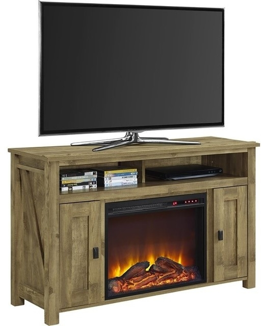 Brilliant High Quality Pine Wood TV Stands Intended For Altra Furniture Farmington 50 Fireplace Tv Stand Heritage Pine (Image 8 of 50)