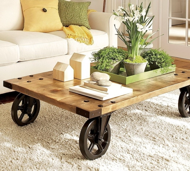 Brilliant High Quality Rustic Coffee Table With Wheels Pertaining To Beautiful Rustic Coffee Table Wheels (Image 11 of 50)