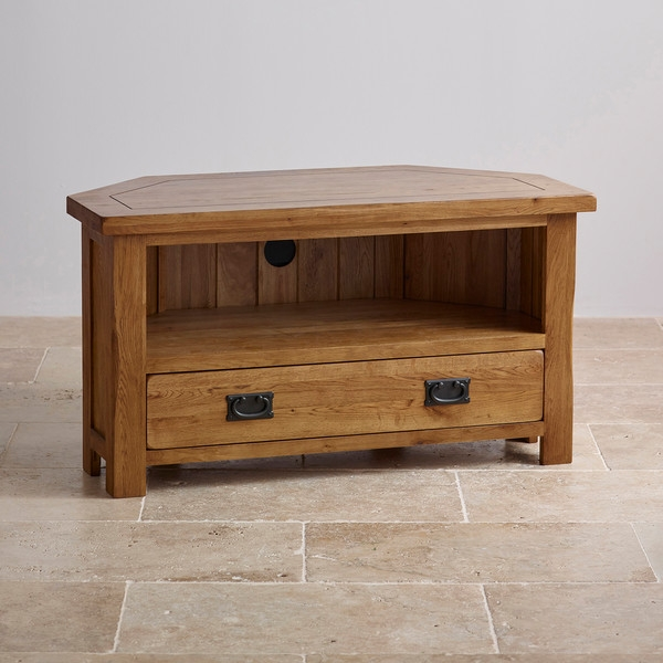 Brilliant High Quality Solid Oak Corner TV Cabinets Regarding Original Rustic Corner Tv Cabinet In Solid Oak Oak Furniture Land (Image 10 of 50)